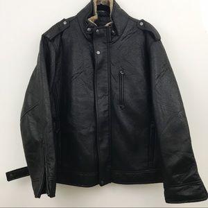 Calvin Klein black bomber moto jacket - XL